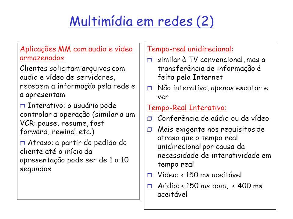 Multimídia em redes (2) Aplicações MM com audio e vídeo armazenados