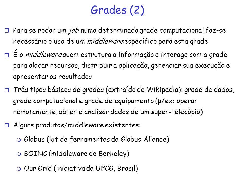 Grades (2) Para se rodar um job numa determinada grade computacional faz-se necessário o uso de um middleware específico para esta grade.