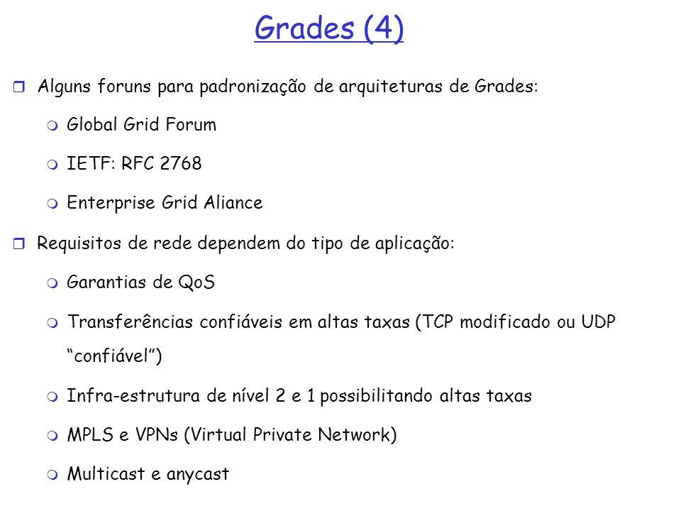 Grades (4) Alguns foruns para padronização de arquiteturas de Grades: