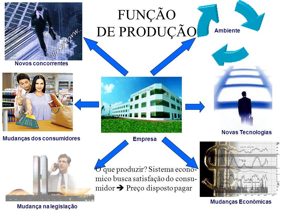 FUNÇÃO DE PRODUÇÃO. Ambiente. Novos concorrentes. Novas Tecnologias. Mudanças dos consumidores.