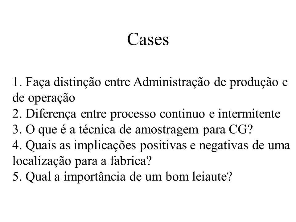 Cases 1. Faça distinção entre Administração de produção e de operação
