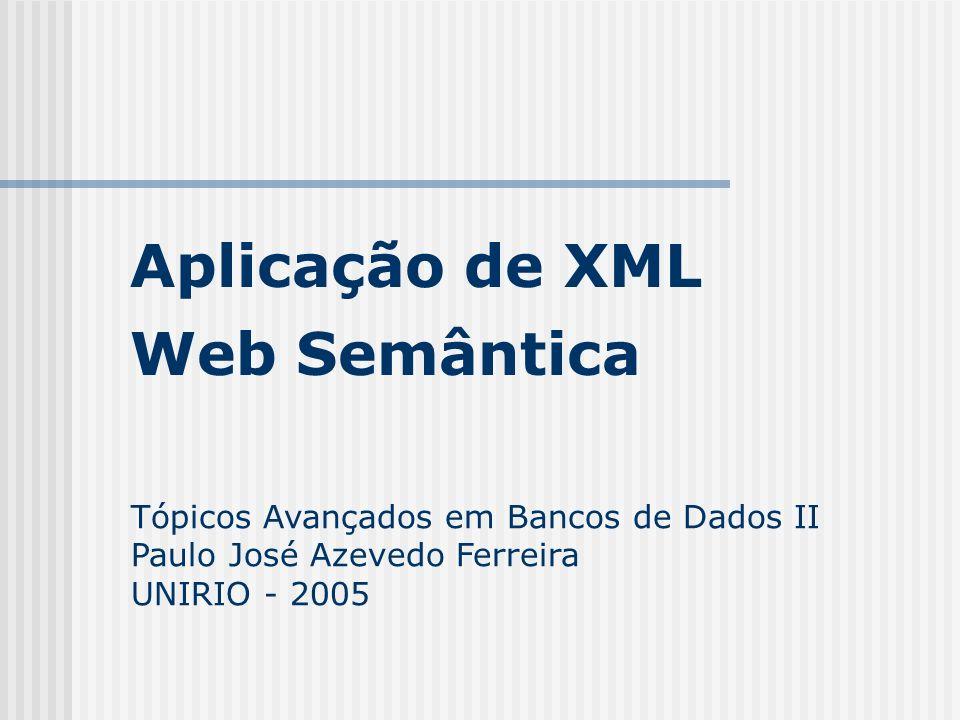 Aplicação de XML Web Semântica Tópicos Avançados em Bancos de Dados II