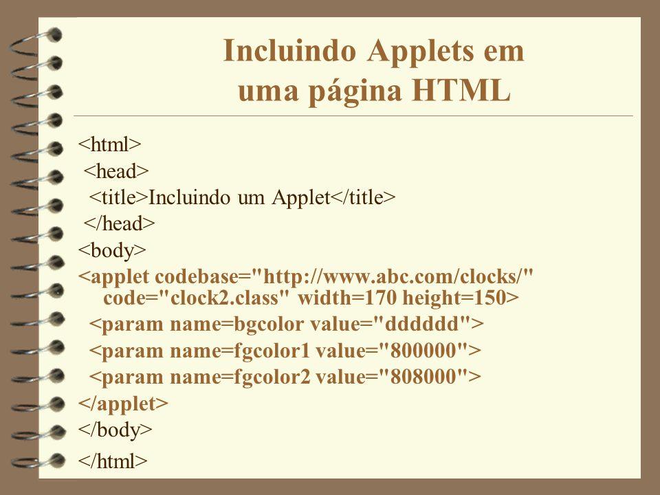 Incluindo Applets em uma página HTML