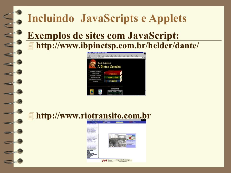 Exemplos de sites com JavaScript: