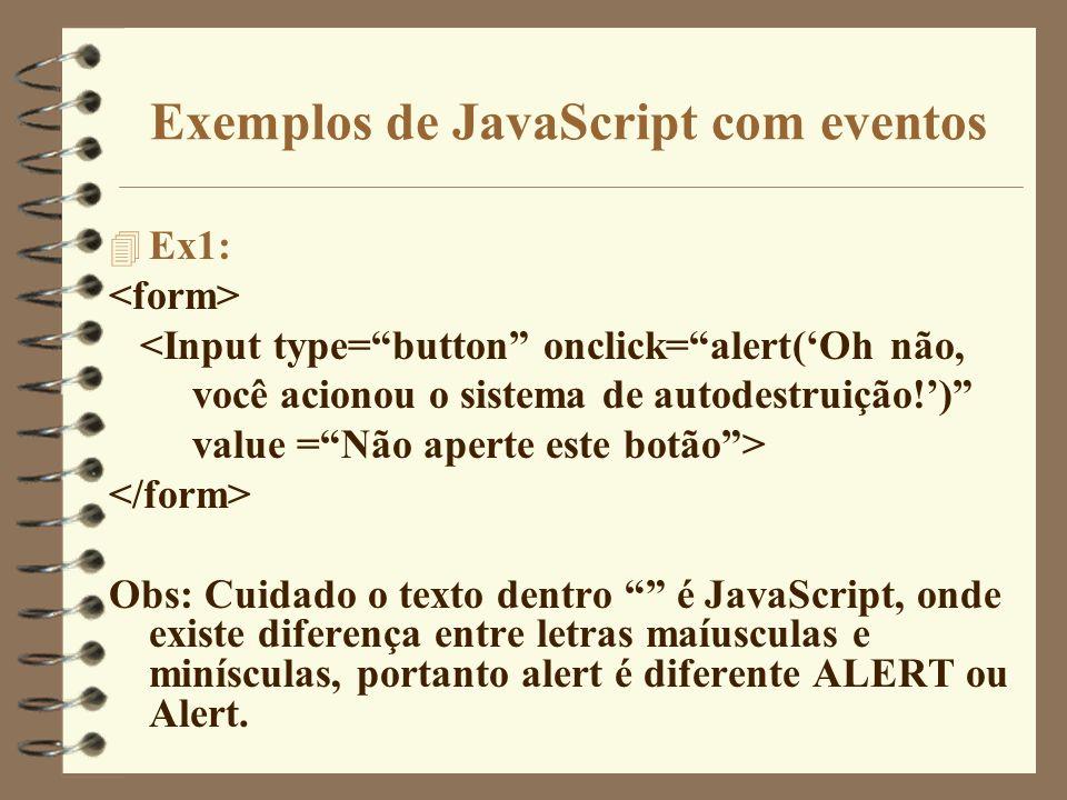Exemplos de JavaScript com eventos