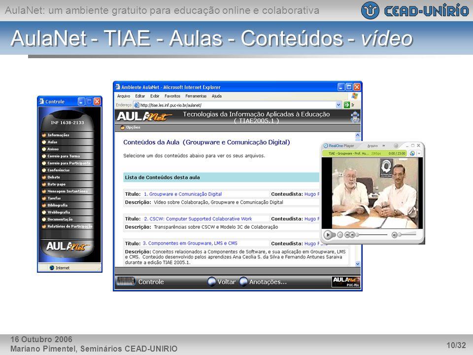 AulaNet - TIAE - Aulas - Conteúdos - vídeo
