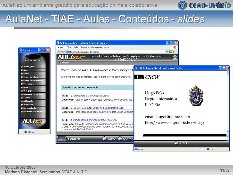 AulaNet - TIAE - Aulas - Conteúdos - slides