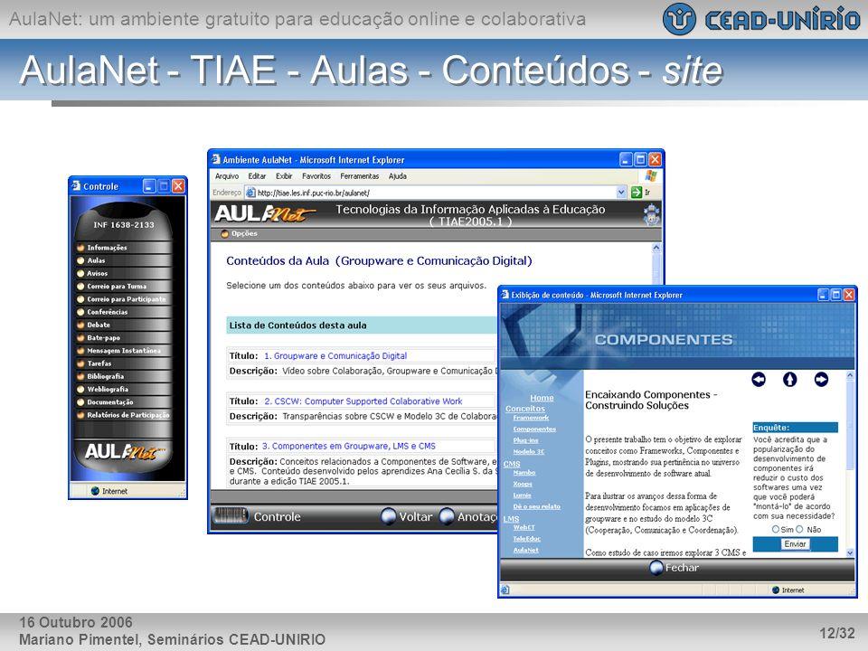 AulaNet - TIAE - Aulas - Conteúdos - site