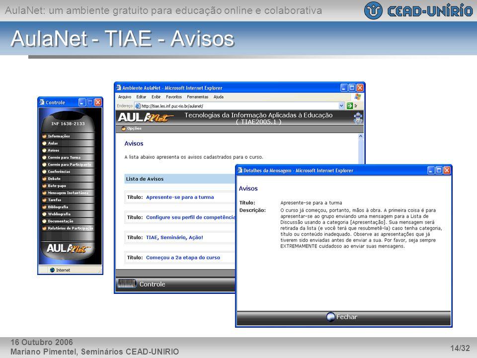 AulaNet - TIAE - Avisos 16 Outubro 2006