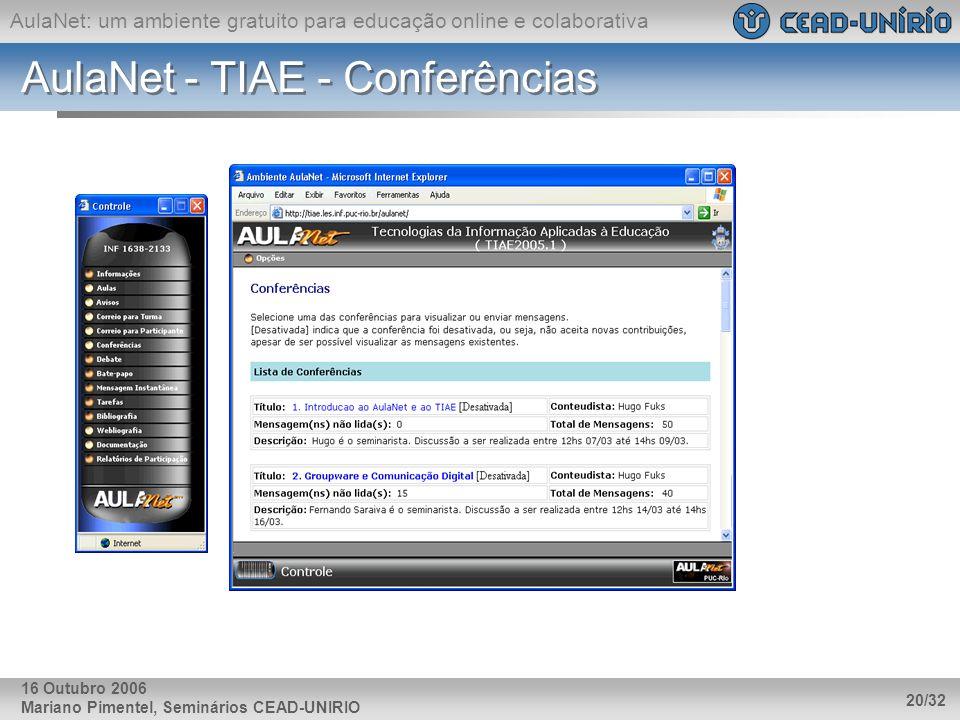 AulaNet - TIAE - Conferências