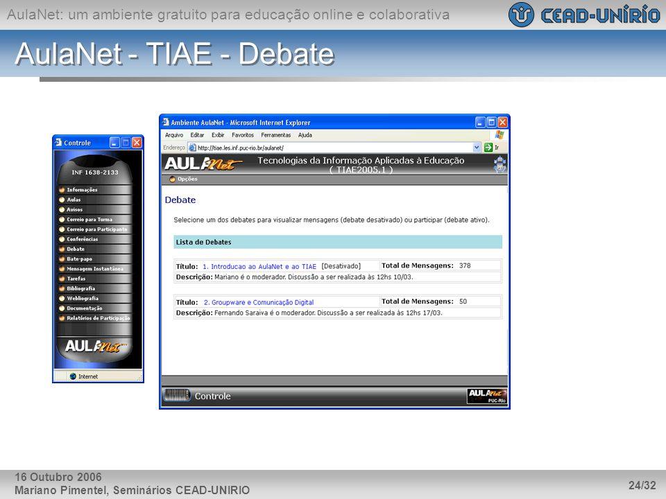 AulaNet - TIAE - Debate 16 Outubro 2006