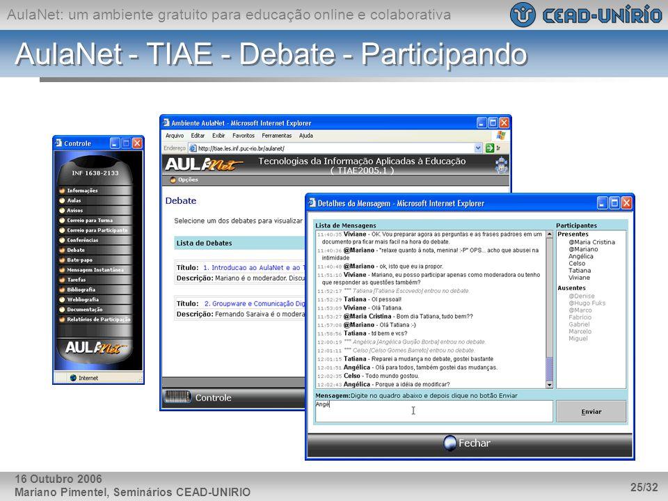 AulaNet - TIAE - Debate - Participando