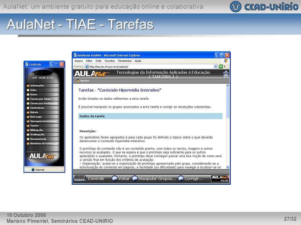 AulaNet - TIAE - Tarefas