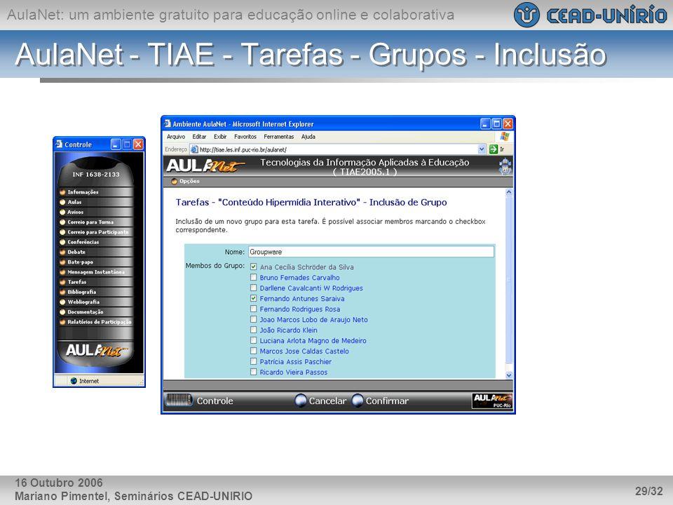 AulaNet - TIAE - Tarefas - Grupos - Inclusão