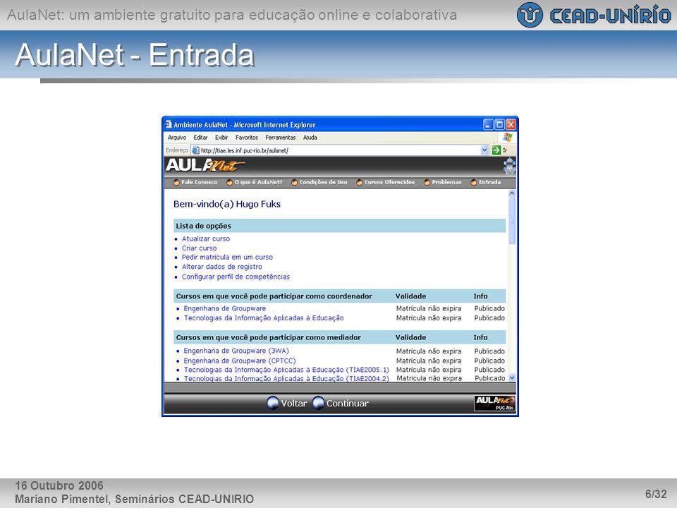 AulaNet - Entrada 16 Outubro 2006