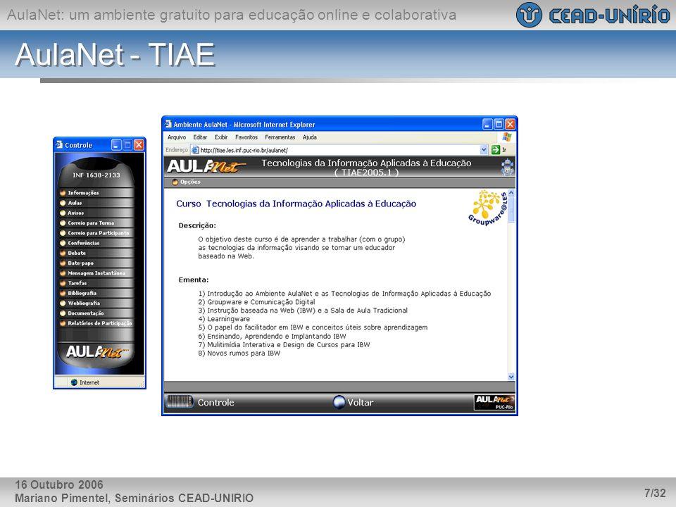 AulaNet - TIAE 16 Outubro 2006 Mariano Pimentel, Seminários CEAD-UNIRIO