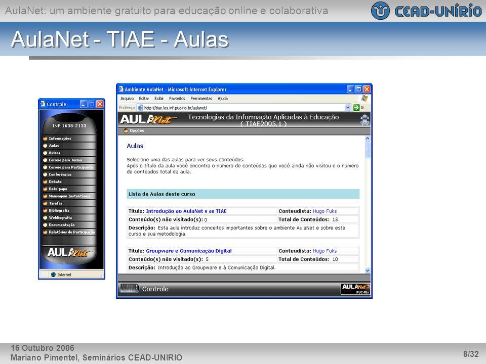 AulaNet - TIAE - Aulas 16 Outubro 2006