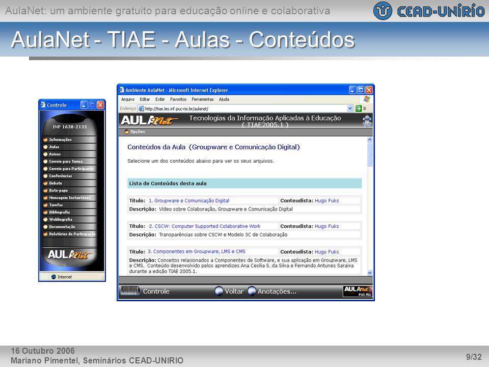AulaNet - TIAE - Aulas - Conteúdos