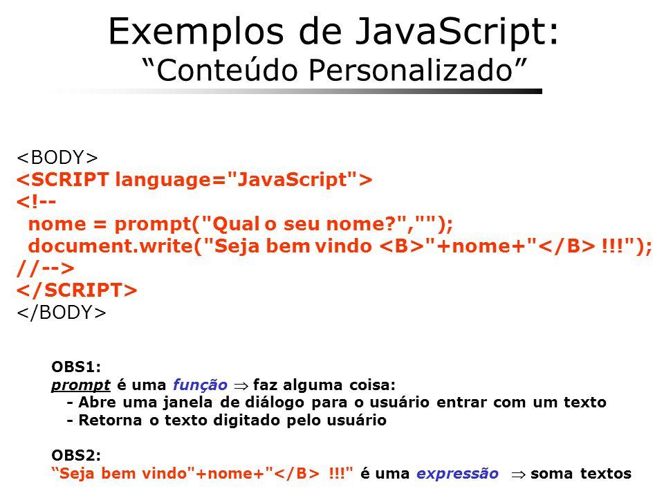 Exemplos de JavaScript: Conteúdo Personalizado