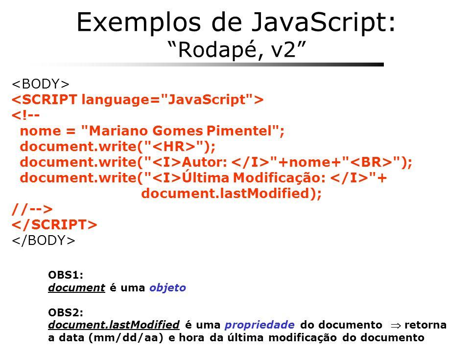 Exemplos de JavaScript: Rodapé, v2