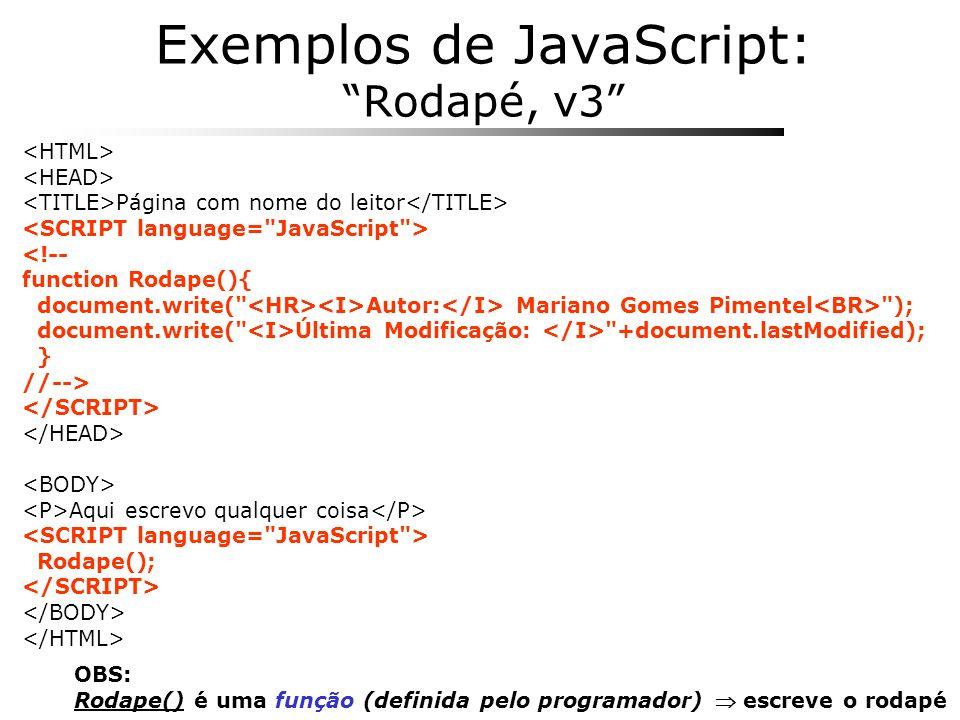 Exemplos de JavaScript: Rodapé, v3