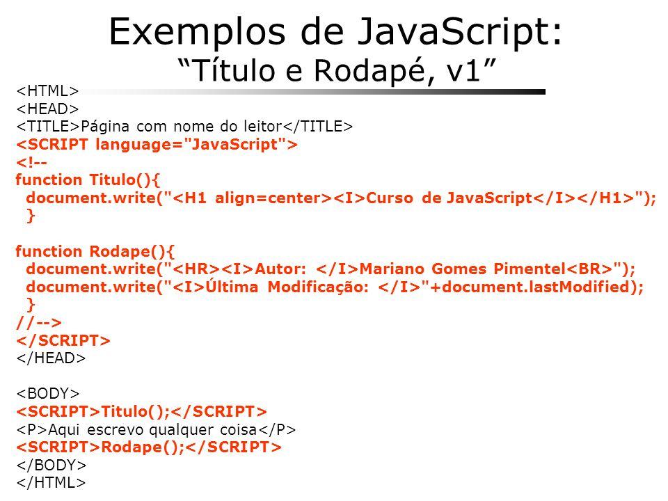 Exemplos de JavaScript: Título e Rodapé, v1