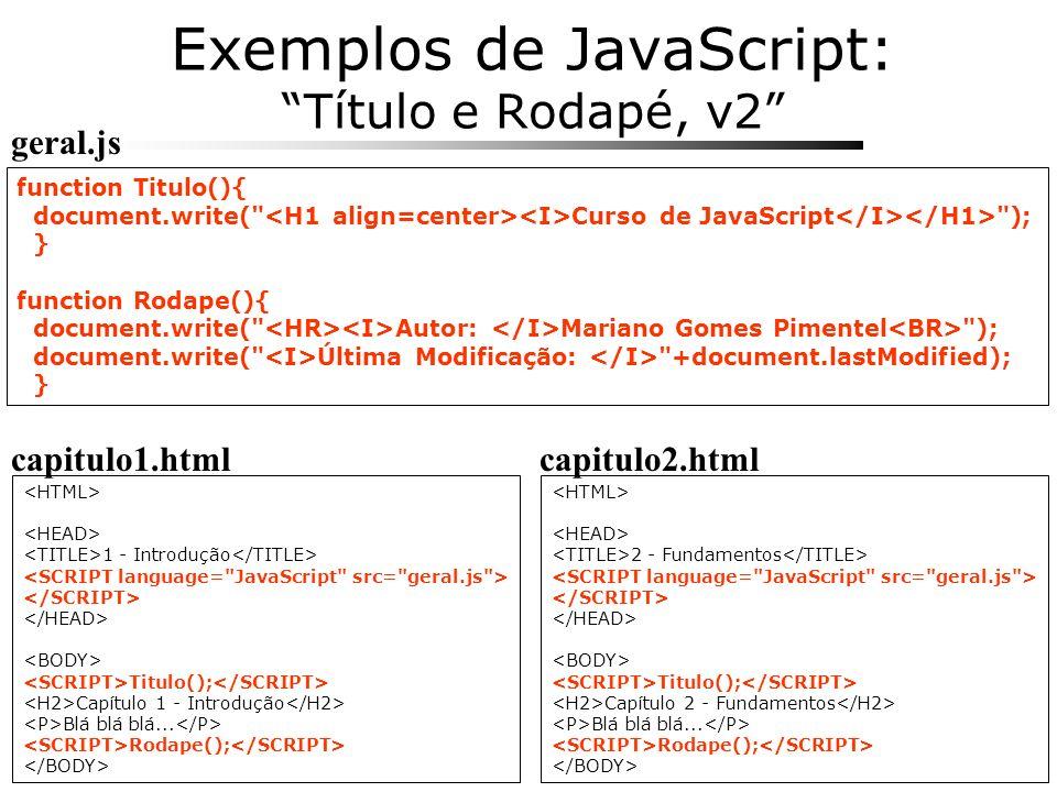 Exemplos de JavaScript: Título e Rodapé, v2