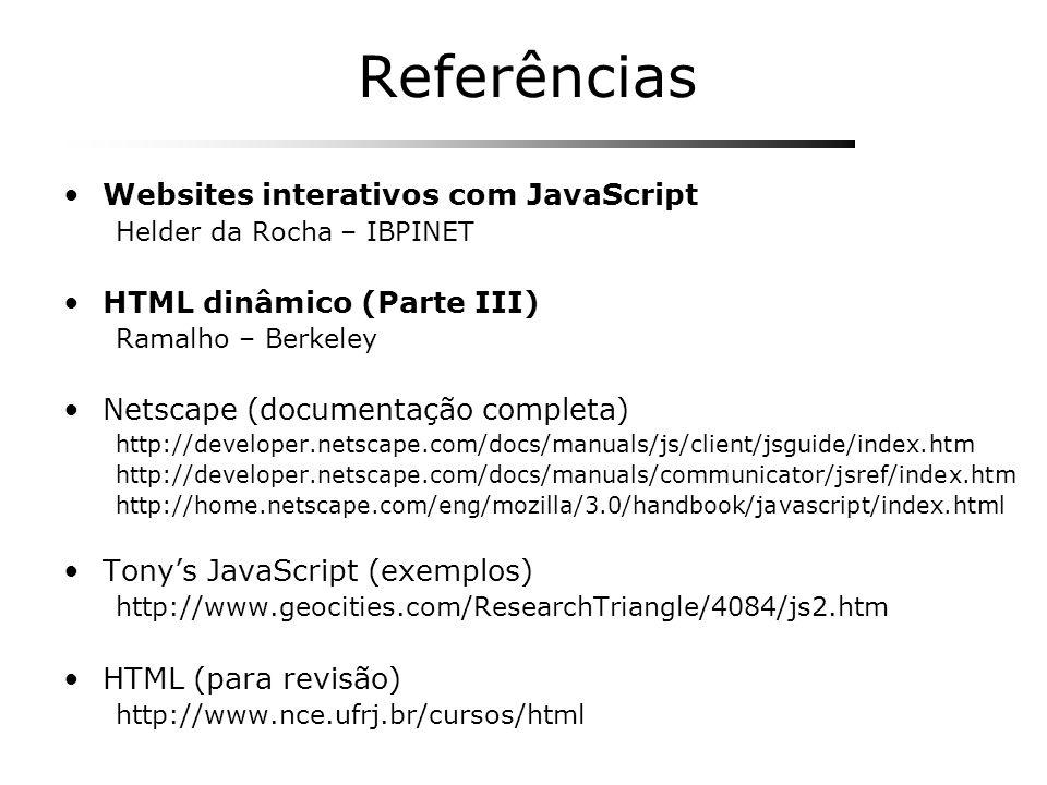 Referências Websites interativos com JavaScript