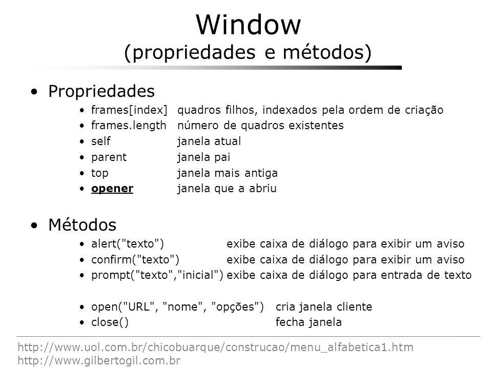 Window (propriedades e métodos)