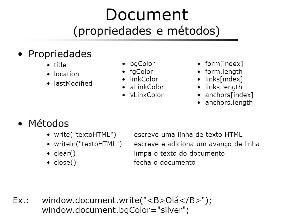 Document (propriedades e métodos)