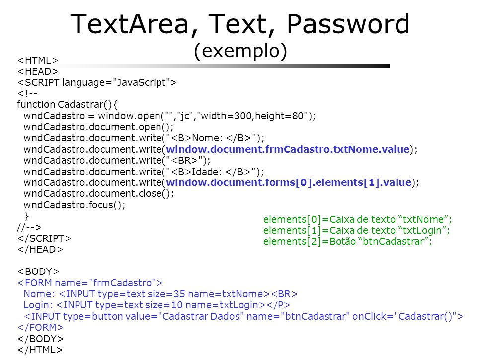 TextArea, Text, Password (exemplo)