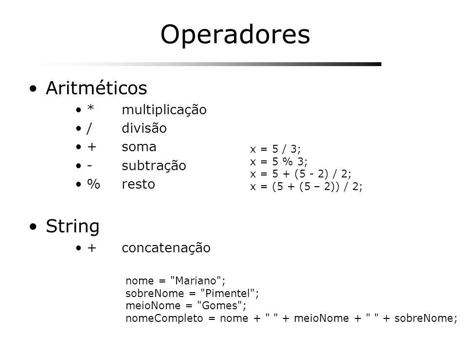 Operadores Aritméticos String * multiplicação / divisão + soma