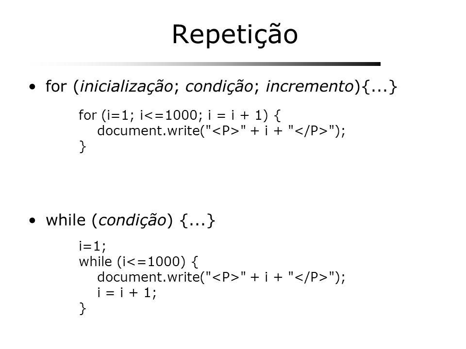 Repetição for (inicialização; condição; incremento){...}