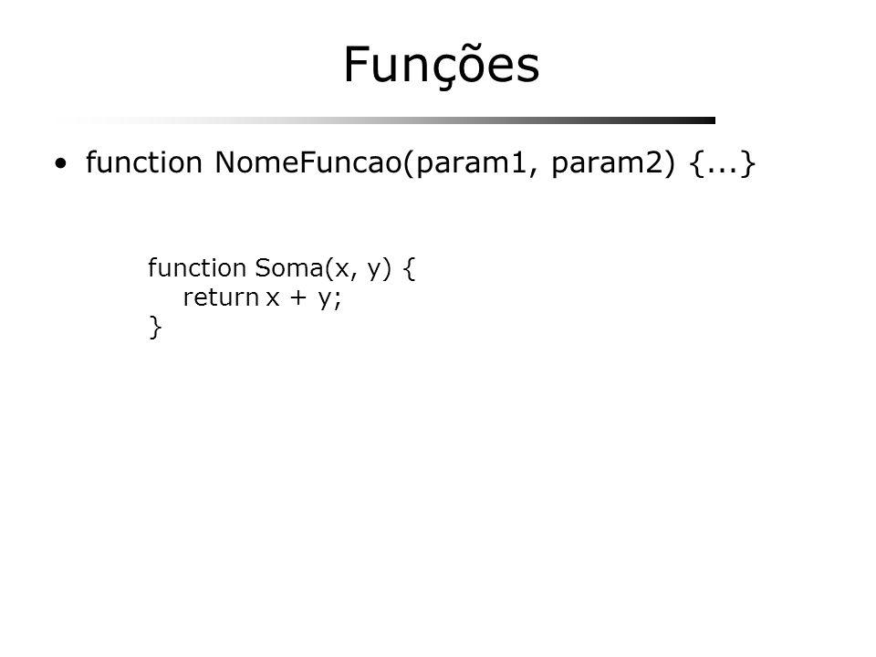 Funções function NomeFuncao(param1, param2) {...}