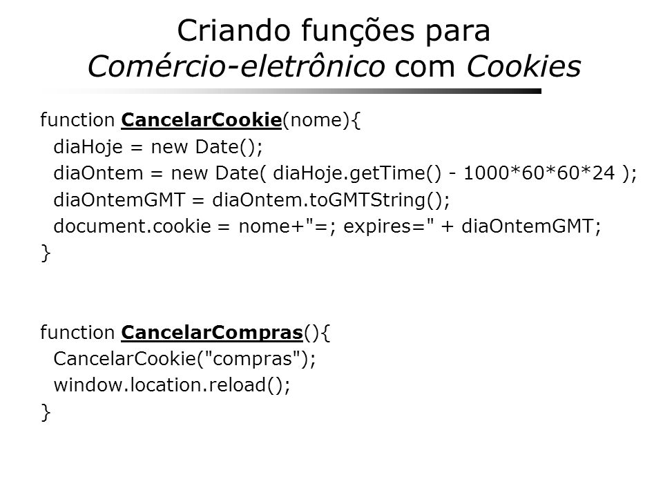 Criando funções para Comércio-eletrônico com Cookies