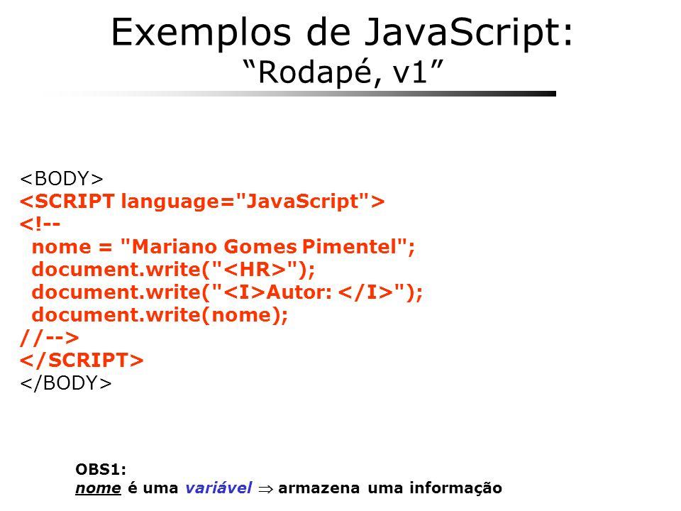 Exemplos de JavaScript: Rodapé, v1