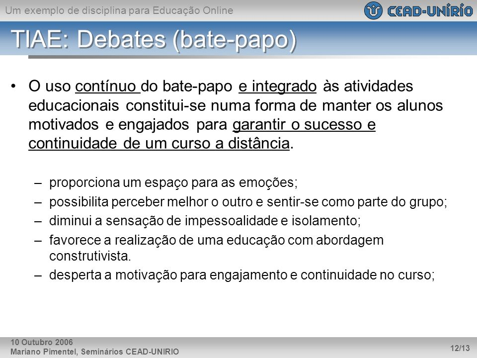 TIAE: Debates (bate-papo)