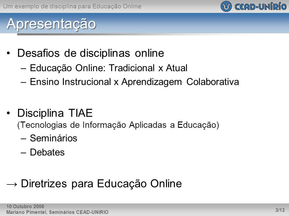 Apresentação Desafios de disciplinas online