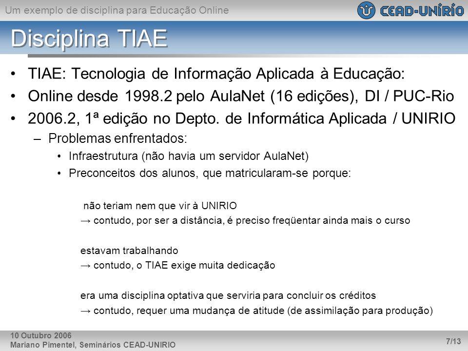 Disciplina TIAE TIAE: Tecnologia de Informação Aplicada à Educação: