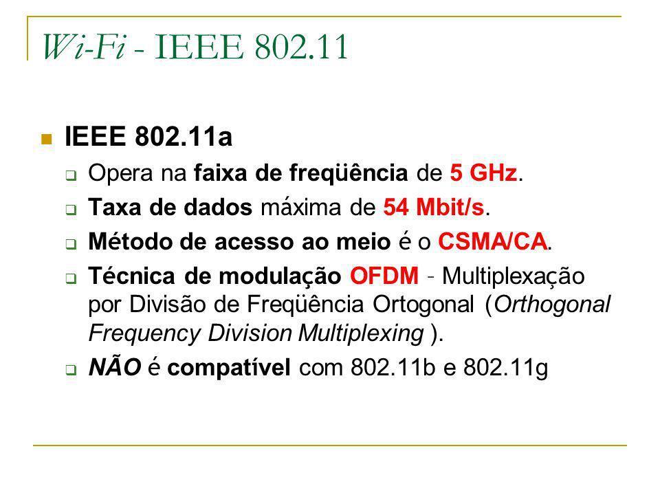 Wi-Fi - IEEE 802.11 IEEE 802.11a. Opera na faixa de freqüência de 5 GHz. Taxa de dados máxima de 54 Mbit/s.