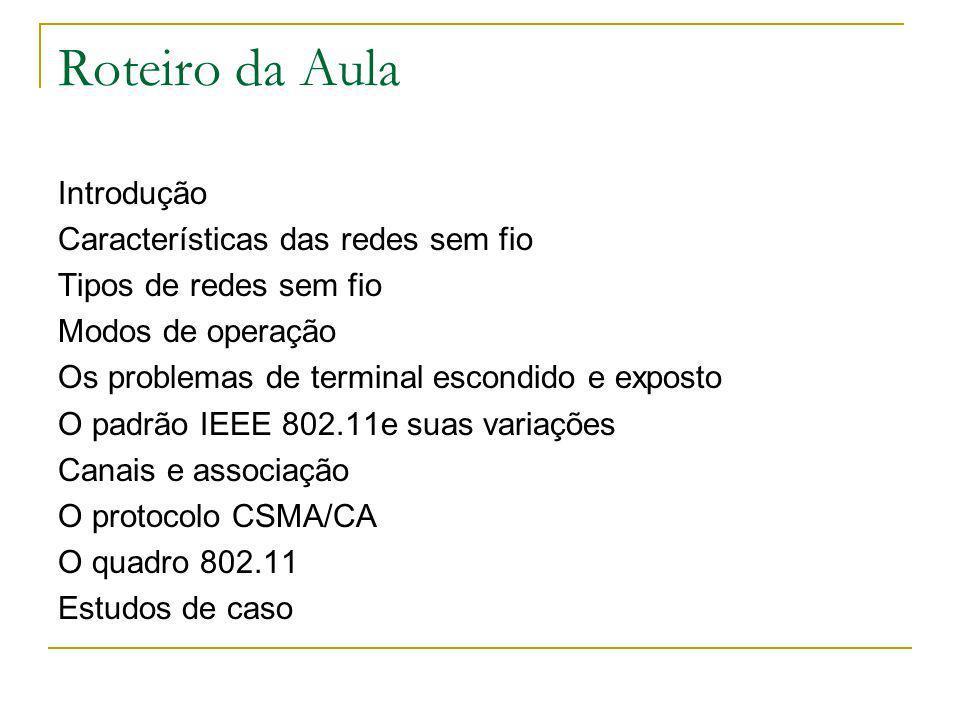 Roteiro da Aula Introdução Características das redes sem fio