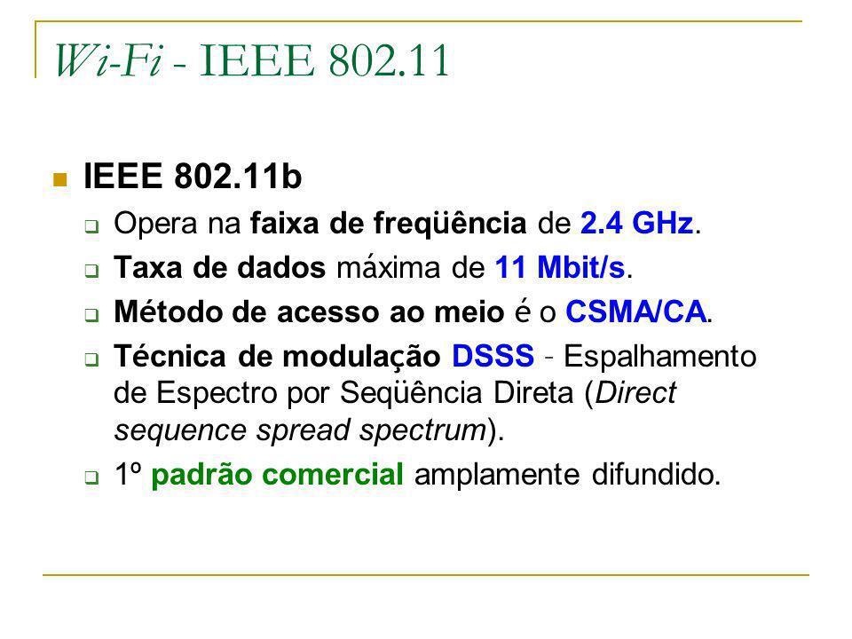 Wi-Fi - IEEE 802.11 IEEE 802.11b. Opera na faixa de freqüência de 2.4 GHz. Taxa de dados máxima de 11 Mbit/s.
