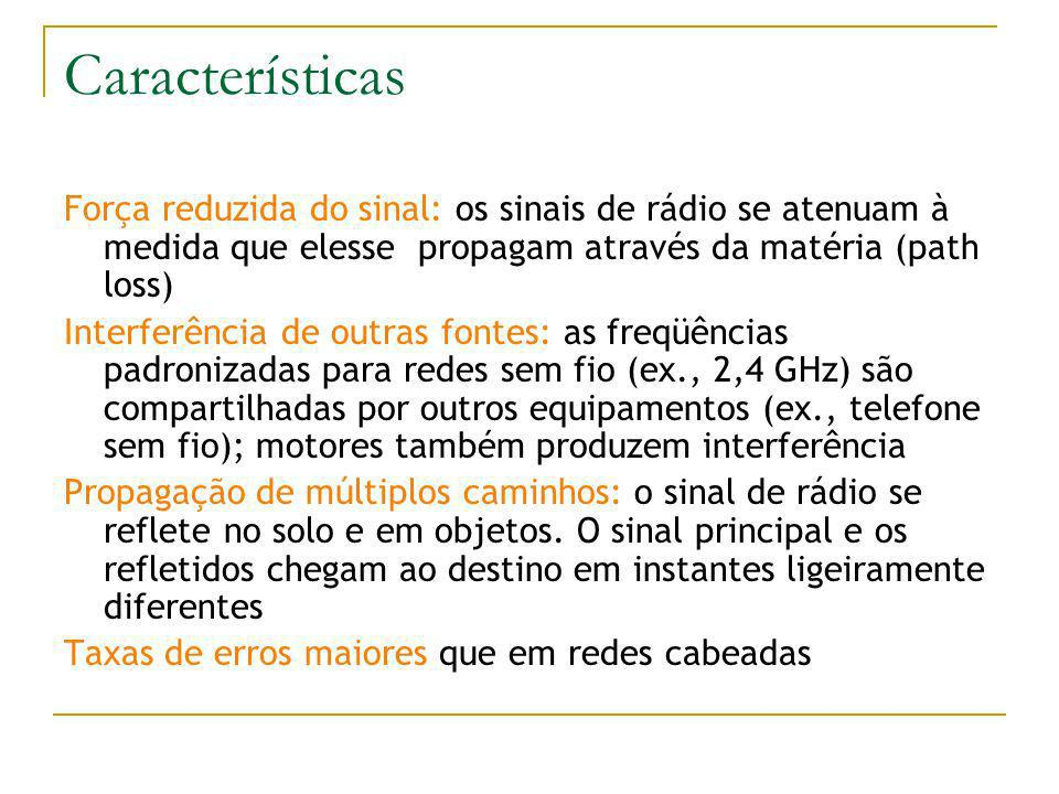 Características Força reduzida do sinal: os sinais de rádio se atenuam à medida que elesse propagam através da matéria (path loss)