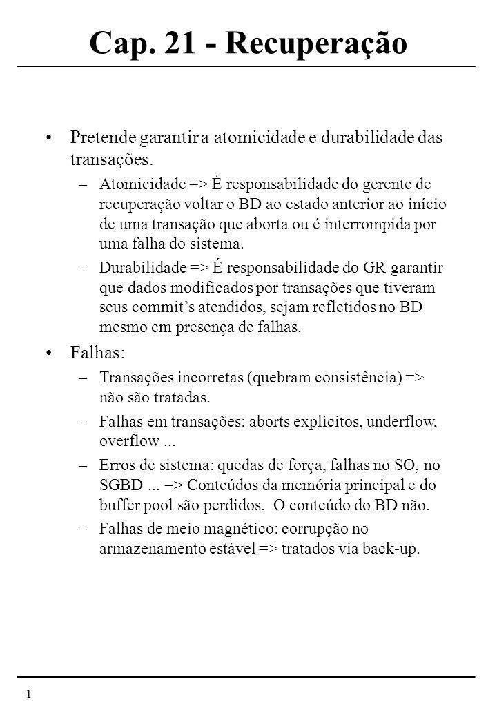 Cap. 21 - Recuperação Pretende garantir a atomicidade e durabilidade das transações.