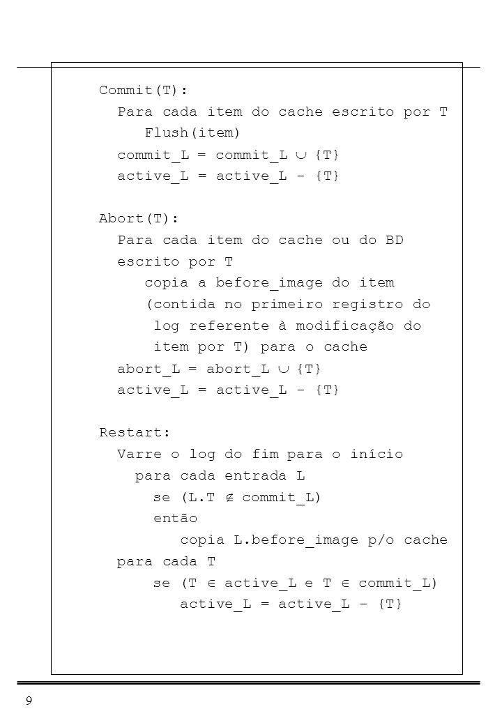 Commit(T): Para cada item do cache escrito por T. Flush(item) commit_L = commit_L È {T} active_L = active_L - {T}