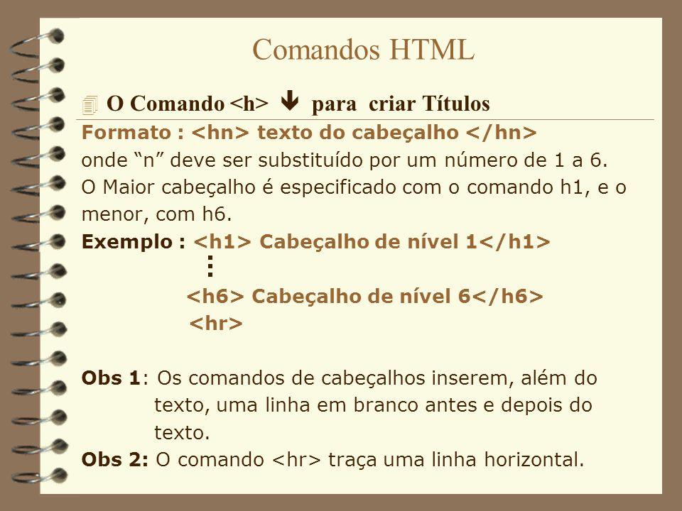 Comandos HTML O Comando <h>  para criar Títulos