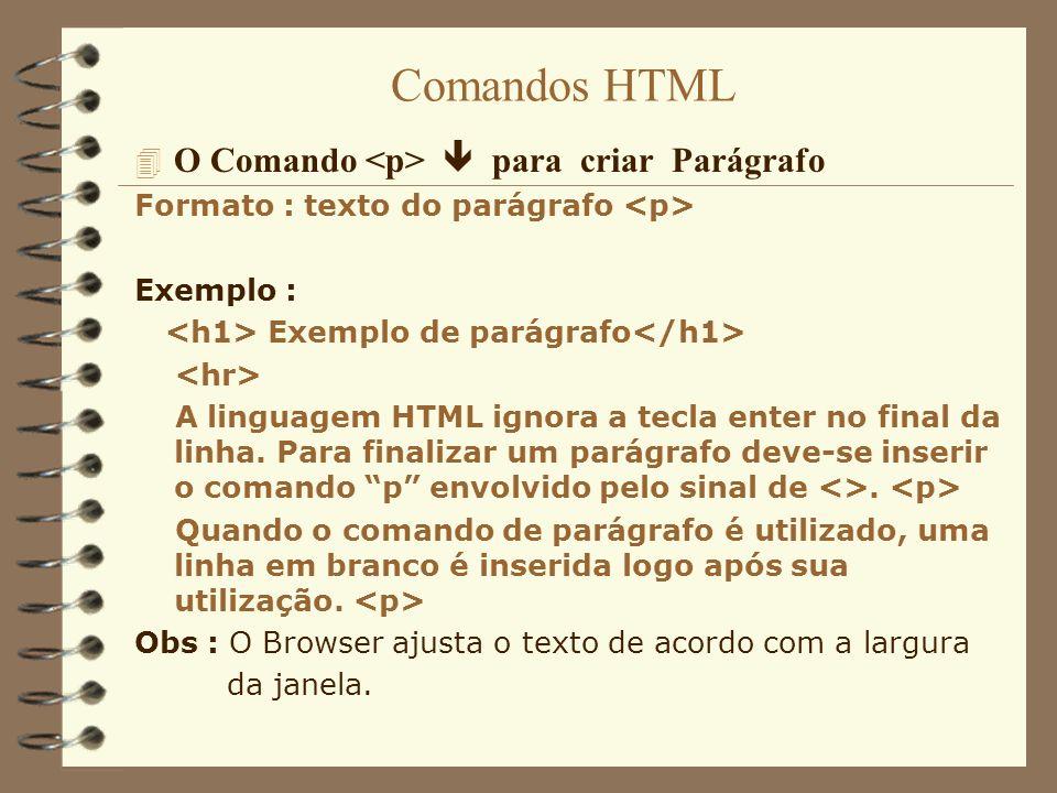 Comandos HTML O Comando <p>  para criar Parágrafo