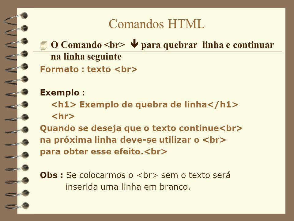 Comandos HTML O Comando <br>  para quebrar linha e continuar na linha seguinte. Formato : texto <br>