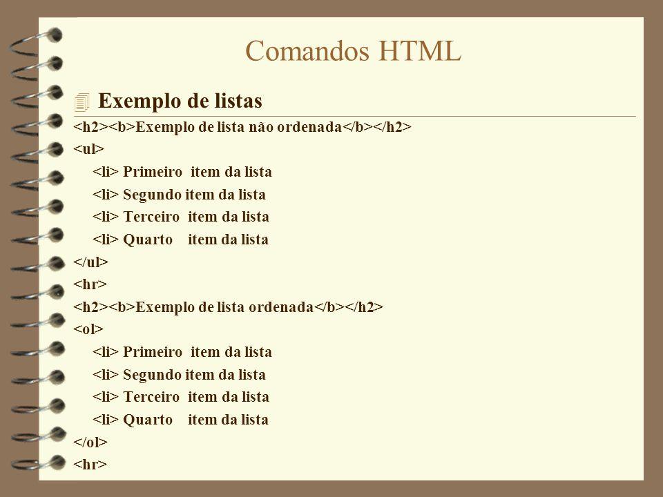 Comandos HTML Exemplo de listas