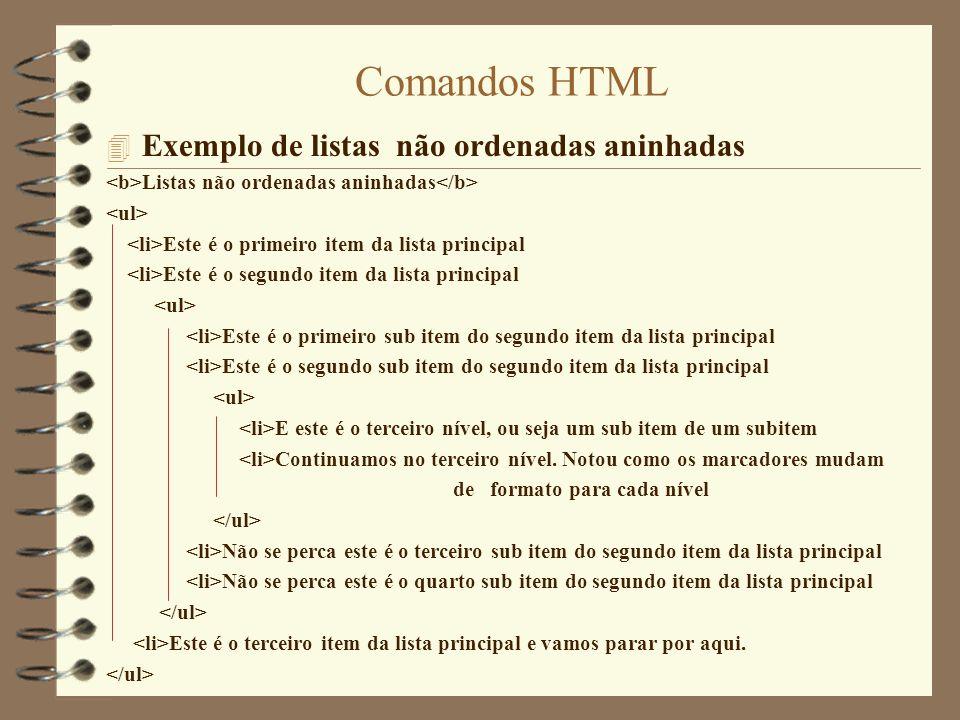 Comandos HTML Exemplo de listas não ordenadas aninhadas